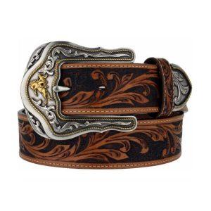 Belt Mens Tooled Full Grain Leather Made in U.S.A.