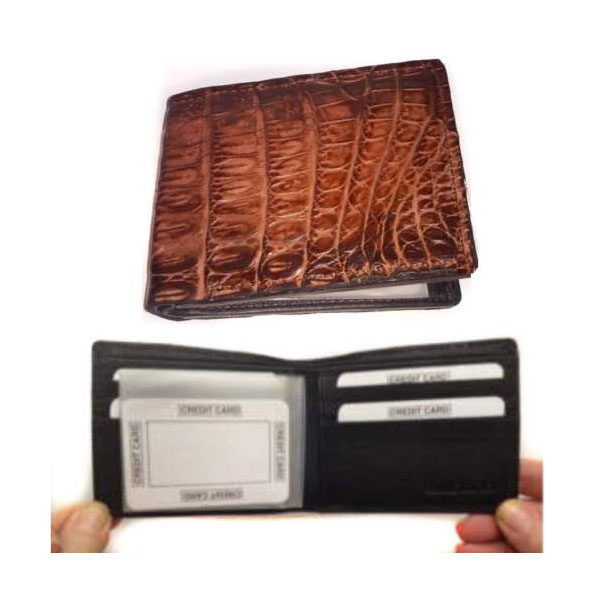 Mens Wallet Genuine Crocodile Bi Fold Wallet