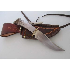 "Handmade 5 1/2"" 1085 spring steel hunter knife with Sheath"