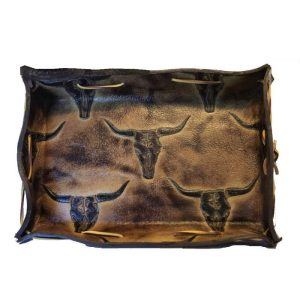 Men's handmade vintage hand dyed leather water buffalo and cowhide valet tray