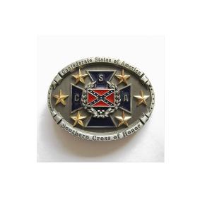 Belt Buckle Confederate CSA Rebel Flag