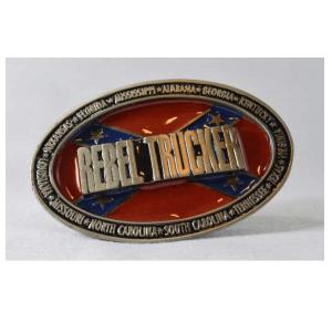 Belt Buckle Confederate Flag Rebel Trucker