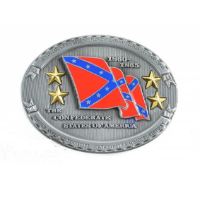 Belt Buckle Confederate Flag Pewter with 4 Brass Stars
