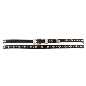 Hat Band Black Leather with Diamond Shapes