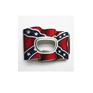 Belt Buckle Confederate Rebel Flag Bottle Opener