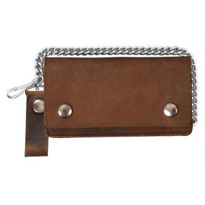 "Wallet Brown Biker Bifold 6"" Distressed Brown"