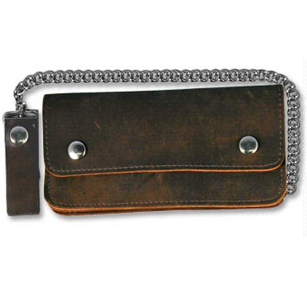 "Wallet Brown Biker bifold 8"" Distressed Brown"