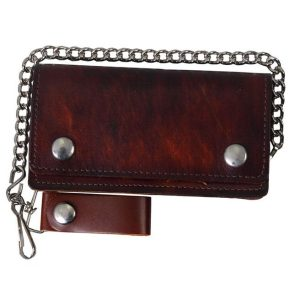 "Wallet Brown Biker Bifold 8"" Wallet in Antique Brown"