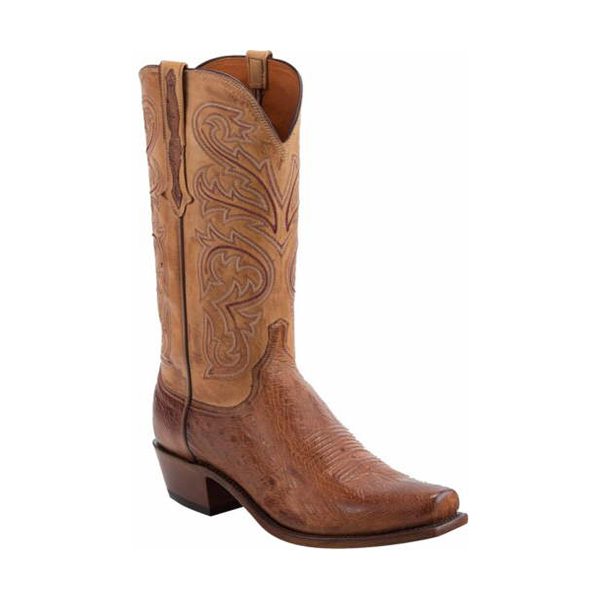 Lucchese Men's Nathan Burnished Barnwood Smooth Ostrich