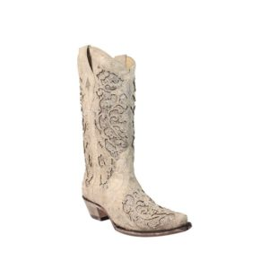 Corral White Glitter Inlay Leather Western Wedding Boots