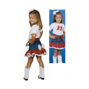 Red Kids Cowgirl Outfit Denim