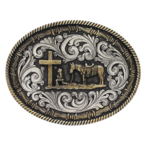 Montana Silversmiths Two tone Rope & Barbed Wire Classic Impressions Christian Cowboy Attitude Buckle