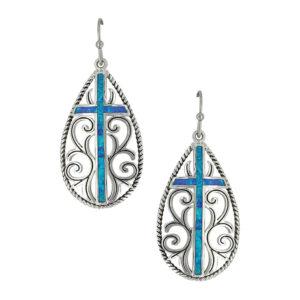 Montana Silversmiths Filigree Water Lights Cross Earrings
