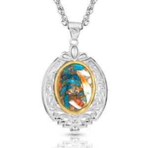 Montana Silversmiths Sweet Memories Mountain Glacier Turquoise Necklace