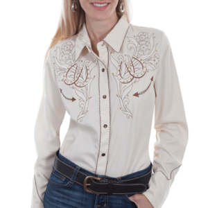 Scully Women's Embroidered Lucky Horseshoe White Blouse