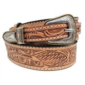 "Handmade 1 1/2"" Leather Oak Leaf Tooled Ranger Dress Belt"