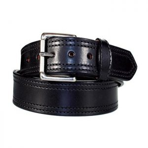 Handmade Double Stitched Leather Belt in Black