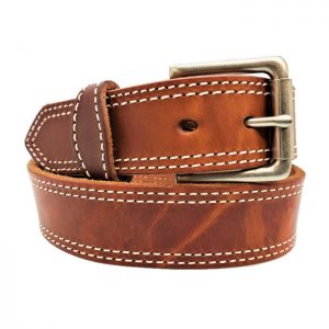 Handmade Double Stitched Leather Belt in Waxed Tan White Stitching
