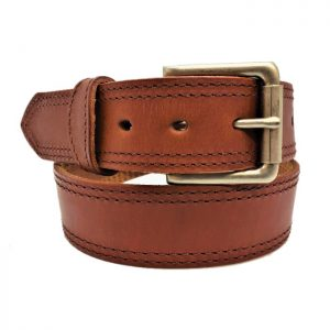 Handmade Double Stitched Leather Belt in Waxed Tan Brown Stitching