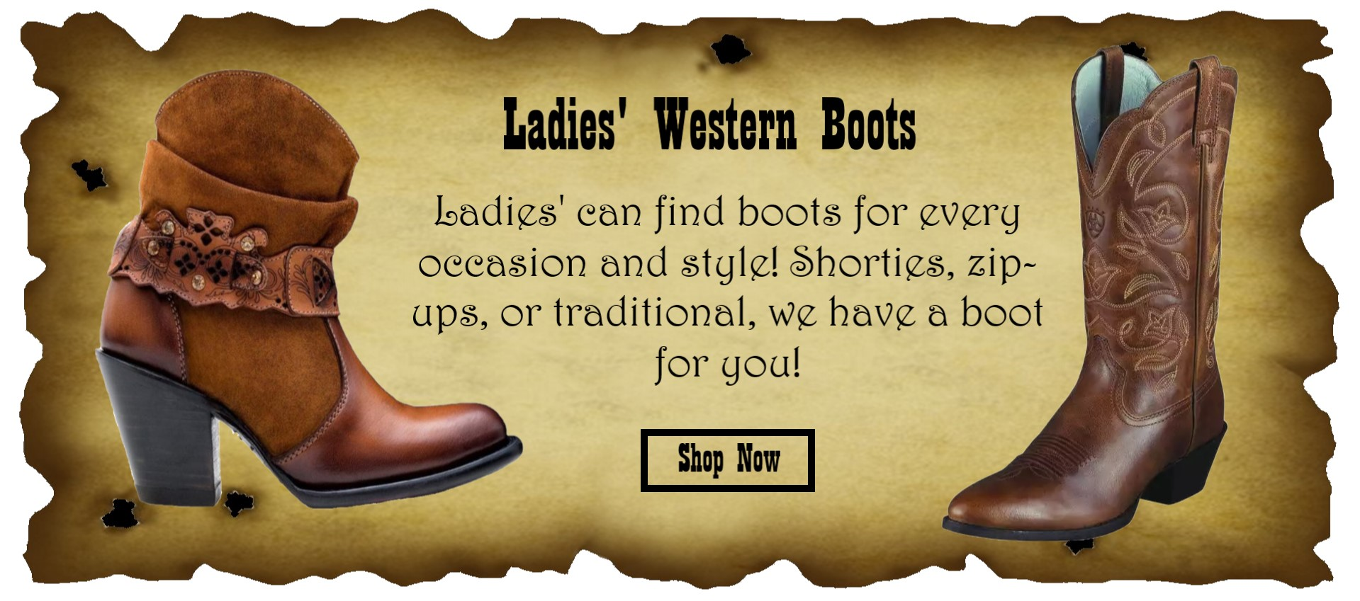 Ladies Western Boots Slider