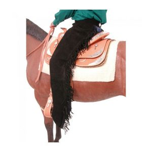 Chaps Adult Quality Suede Leather Chaps in Black w/fringe