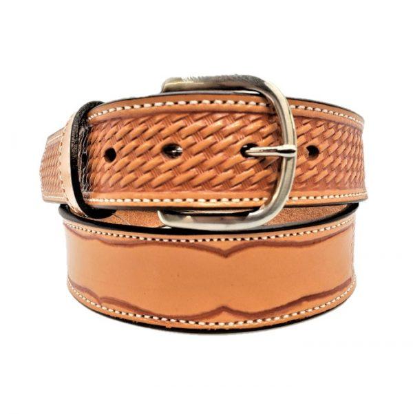 """Handmade Basketweave Embossed 1 1/2"""" Custom Name Belt"""