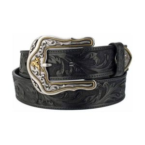 Belt Mens Tooled Full Grain Black Leather Made in U.S.A.