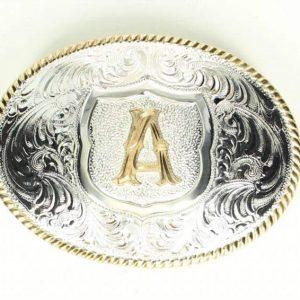 silver gold trim alphabet buckle