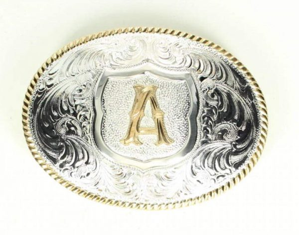 silver gold trim alphabet buckle