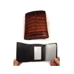 Mens Wallet Genuine Crocodile Tri Fold Wallet