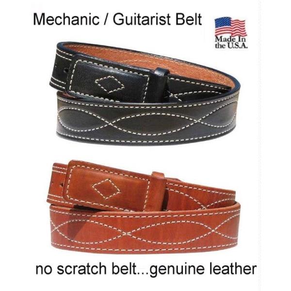 Handmade Figure 8 Stitched Leather MechanicsGuitarist Belt