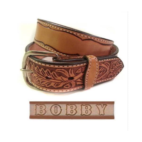 Handmade Oak Leaf Embossed Leather Belt Personalized Name