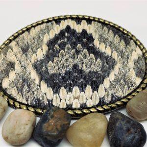 Genuine Rattlesnake belt buckle with rope edge