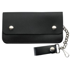 Wallet Black Leather Biker Large 2 Pocket
