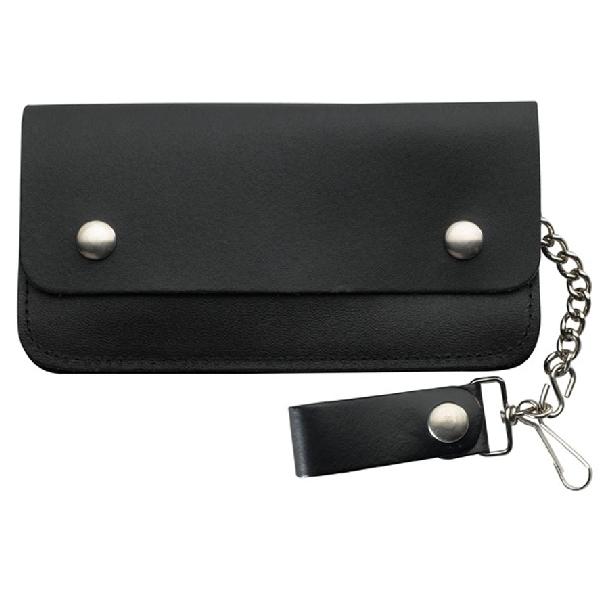 Wallet Black Leather Biker Large 2 Pocket