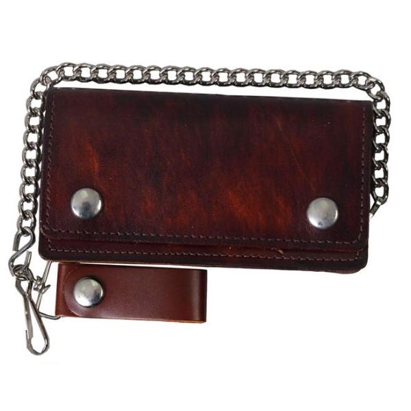 "Wallet Brown Biker Bifold 8"" Wallet in Antique Brown"