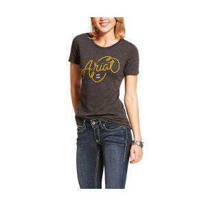 Ladies Ariat Rope Design Charcoal Grey T Shirt