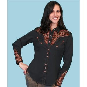 Scully Western Blouse Gunfighter Blk/Brown