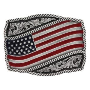 Montana Silversmiths Classic Painted Waving American Flag Attitude Buckle