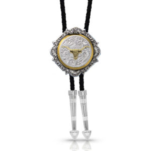 Montana Silversmiths Silver and Gold Engraved Button Bolo Tie