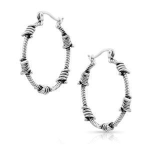 Montana Silversmiths Barbed Wire Hoop Earrings