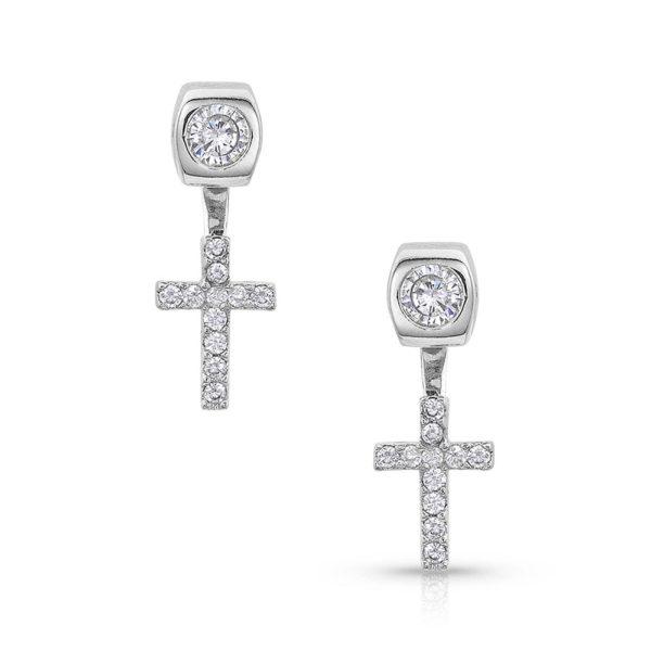 Montana Silversmiths Star Lights Faith Cross Earrings