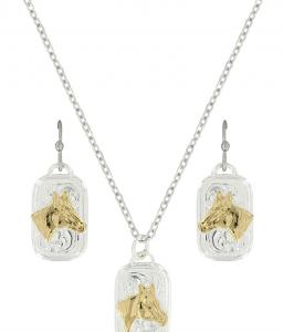 Montana Silversmiths Mini Token Portrait of a Horse Jewelry Set