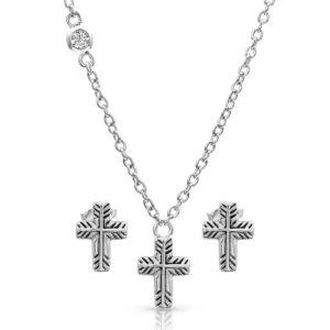 Montana Silversmiths Palm Leaf Cross Jewelry Set