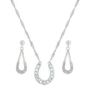Montana Silversmiths Crystal Clear Lucky Horseshoe Jewelry Set