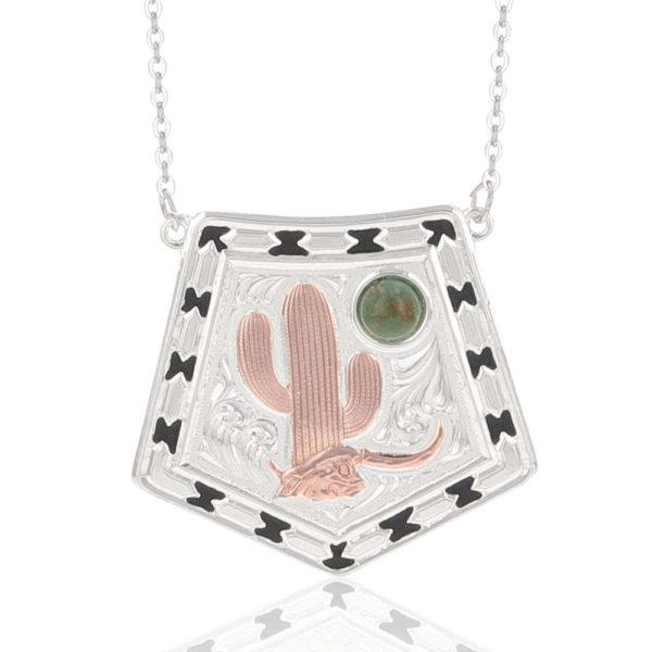 Montana Silversmiths Stay Cactus Strong Turquoise Moon Necklace