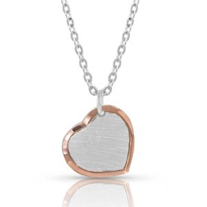 Perfectly-Paired two-tone-Heart-Necklace