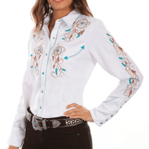 Scully Women's Embroidered Dream Weaver Rodeo Shirt
