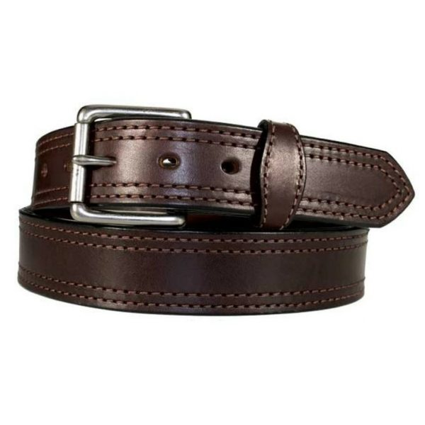 Handmade Double Stitched Leather Belt in Brown