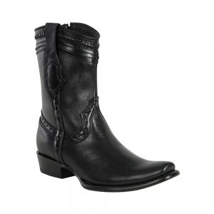 Men's King Exotic Zip-up Leather Boots Black